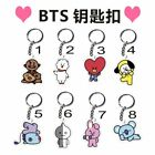 New KPOP BTS BT21 Bangtan Boys Cute Key Chain TATA COOKY RJ SHOOKY Keyring SUGA