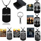 Personalized Custom Engraved Stainless Steel Dog Tag Pendant Necklace Keychain