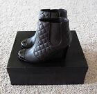 CHANEL Brown Leather Quilted Boots 37 NIB $1440