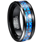 New Mens Boy 8mm Blue ECG Wire Promise Band Tungsten Carbide Ring