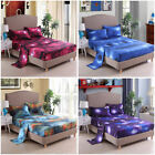 3D Galaxy Flat Fitted Sheet Bed Cover Coverlet Pillow Case Twin/Full/Queen/King image