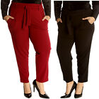 New Womens Plus Size Trousers Ladies Front Tie Pants Bottoms Full Length Pockets