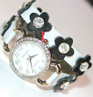 "7"" Womens Ladies Geneva Crystal Hinged Acrylic Wide Cuff Fashion Wrist Watch"