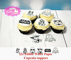 12x STAR WARS Edible Wafer Rice paper Premium OR Card Cupcake Toppers PRECUT $2.79 AUD