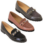 Ladies Loafers Vintage Womens Slip On Suede Patent Look Pumps Studs Shoes Party