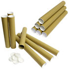 Postal Tubes Strong Cardboard with White Plastic End Cap A4 / A3 / A2