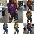 NEW Women Long Sleeve Lace Up Camouflage Shirt Casual Blouse Tops Loose T Shirt
