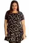 New Womens Plus Size Tunic Ladies Dress Leaf Print Peplum Top Frill Short Style