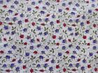 1 1/8 Yard Tiny Red & Purple Flower Buds On White Cotton Fabric