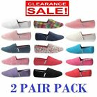 2 x WOMENS ZAPATILLAS CANVAS SHOES Slip On Flats Loafers Assorted Colours SALE