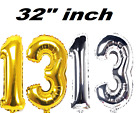 """Giant 13 Birthday Party Number 13 Foil Balloon 32""""INCH Air Decoration Age 13"""