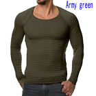 New Fashion Men's Tee Shirt Slim Fit V Neck Long Sleeve Muscle Casual Tops