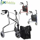 Sturdy Three Wheeled Steel Walker Rollator Walking Frame Aid Disability Mobility