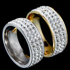 1Pc Women Men Three Rows Rhinestones Couple Gift Finger Wedding Band Ring Cheap
