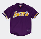 Los Angeles Lakers Mens Mitchell  Ness V Neck Satin Mesh Jersey
