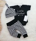 Summer 3pcs Set Baby Boys Little Brother Outfits Romper Bodysuit Cotton Clothes