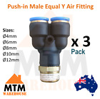 3 x Push in Air Fitting Equal Y with Male Thread 4mm to 12mm Diameter PT Pack