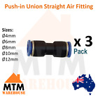 3 x Push in Air Fitting Equal Union Straight Connector Pneumatic Systems Pack