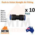 10 x Push in Air Fitting Equal Union Straight Connector Pneumatic Systems Pack