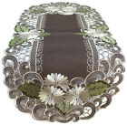Table Runner, Doily, Mantel Scarf with White Daisies on Brown Burlap Material