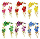 2PCS Embroidered 3D Sewing Patch Red/Purple/Green Floral Appliques Triming WT65