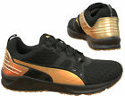 Puma Ignite Lace Up Black Gold Textile Womens Trainers 188987 02 B25C