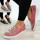 New Womens Flatform Casual Sneakers Pearl Comfy Trainers Slip On Pumps Shoes