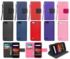 For ZTE Tempo X / Bade Vantage / Avid 4 Leather Wallet Flip Case Cover w/ Strap