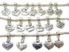 Silver Charm/Pendant Family Heart for European Charm Bracelet and Necklace
