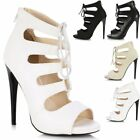 Ladies Womens High Stiletto Heel Peep Open Toe Lace Up & Zip Sandals Court Shoes