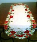 Table Runner, Doily, Mantel Scarf with Red Poppy Flowers on Ivory Fabric