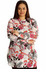New Womens Shirt Plus Size Ladies Butterfly Floral Print Chiffon Collared Slit