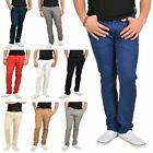 Mens Chino Jeans Regular Fit Stretch Cotton Rich Twill Trousers Casual Pants