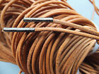 METAL TIPPED 2.5mm Round Brown Tan LEATHER Shoelaces - Any Length - shoe lace