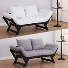 Sofa Bed Chaise Lounge Recliner Foldable Convertible Linen Wood 2 Colours