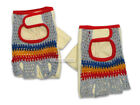 NOS Vintage EROICA Crochet Knit Cycling Bicycling Gloves GRAY/BLUE/ORANGE/RED