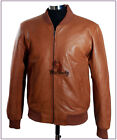 70's Classic Tan (SR275P) Men's New Baseball Soft Real Lambskin Leather Jacket
