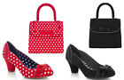 Ruby Shoo Hayley Bow Court Shoes & Matching Santiago Bag UK 3-9 Black Red Spot