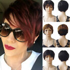 black hair with ombre red - Ombre Yellow Black Short Pixie Human Hair Wig With Bang Straight Women Daily Yhk
