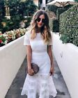 self portrait Bea Eyelet embroidered cotton Midi Dress in white cocktail NEW$510