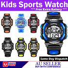NEW CHILDERN WATERPROOF SPORTS DIGITAL LED WATCH KIDS DATE ALARM WRIST WATCH AU
