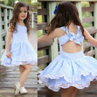 UK  Summer Kids Baby Girls Pageant Princess Sleeveless Stripe Lace Dress Clothes