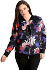 New Womens Plus Size Bomber Jacket Ladies Paisley Floral Print Zip Rib Long Soft
