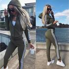 UK 2Pcs Women Tracksuit Hoodies Sweatshirt Pants Sets Sport Wear Zip Casual Suit