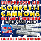 Premium 30cm White Tissue Paper Confetti Cannons, Bio-Degradable