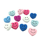 30PCS 18MM MULTI COLOURED HEART SHAPED WOODEN BEADS WITH SMILING FACES DESIGN