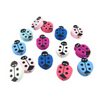 30PCS 15MM MULTI COLOURED LADYBIRD SHAPED WOODEN BEADS FOR JEWELLERY MAKING