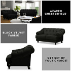 New Azarro Chesterfield 3 2 1 Seater Sofa Suite Matt Velvet Fabric - Black