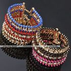 Womens Cotton Weave Braided Golden Metal Crystal Chain Bracelet Bangle Cuff Gift