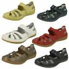 Ladies Down To Earth Flat Cut Out Riptape Leather Shoes F3R095